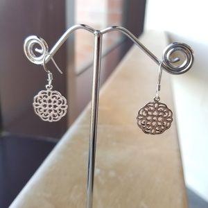 925 Silver Filigree Floral Dangle Earrings
